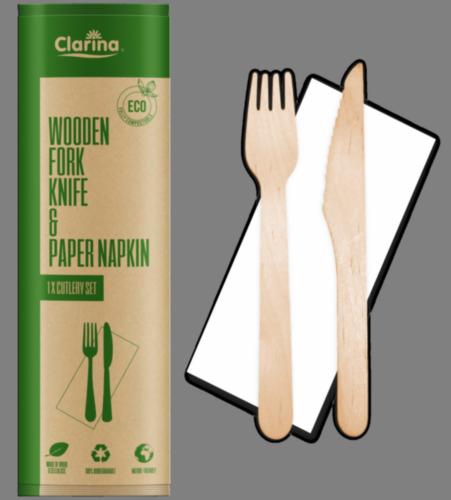 Zestaw nóż + widelec + serwetka (5477)